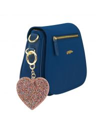 Painted Glitter Heart Disk Keycharm
