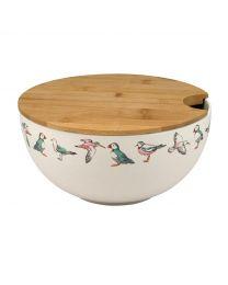 Sea Birds Bamboo Salad Bowl with Lid